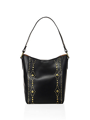 Frye Harness Studded Leather Hobo Bag Black 3xJXrRZfa