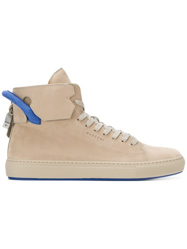 Buscemi Hi Top Sneakers Leather Rubber Nude Neutrals SGuDFrD