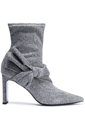 Sigerson Morrison Ruched Velvet Ankle Boots Silver DuR1ReNO