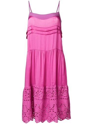 Semicouture Embroidered Flounce Dress Pink And Purple B13js7