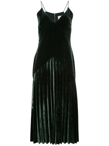 Dion Lee Velvet Pleat Dress Silk Polyester Rayon Green wrBCCbxamD