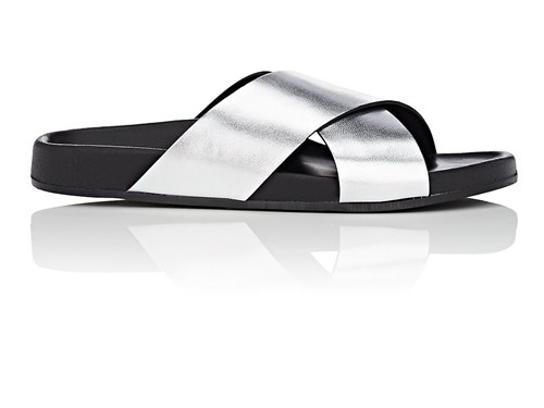 Barneys New York Crisscross Strap Metallic Leather Slide Sandals Silver 9swjtwe5Ua