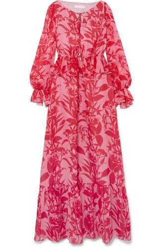 Red Lily Georgette Printed Trimmed Dress De Ruffle Nor Borgo Gbp Marquesa Maxi Silk naPxq6