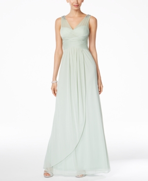 Adrianna Papell Ruched Embellished Gown Mint jVsfx5Ey