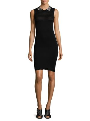 Carven Jeweled Collar Knit Dress Black TJtR32Sqky