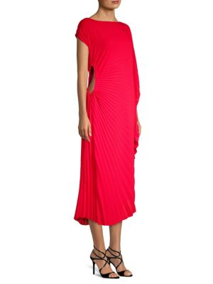DELFI Collective Andi Pleated Asymmetric Dress Red aG8DhvO