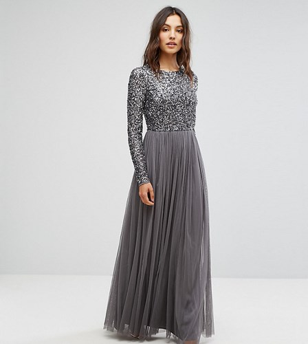 Maya Long Sleeved Maxi Dress With Delicate Sequin And Tulle Skirt Charcoal Grey 9hwOklEk8