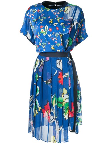 Sacai Belted Floral Print Dress Blue 9fmoK0m14