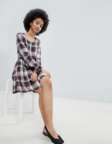 Only Ester Check Skater Dress Red ITLlABF