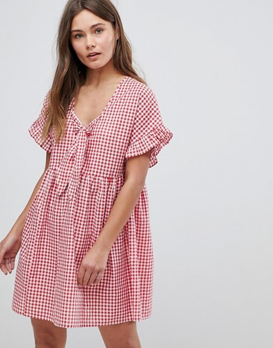 Asos Casual Mini Smock Dress In Gingham With Bunny Tie Multi pwZiVhh