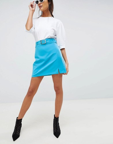 Asos Design Tailored Mini With Belt And Front Split Pop Blue 8gXckZCIX3