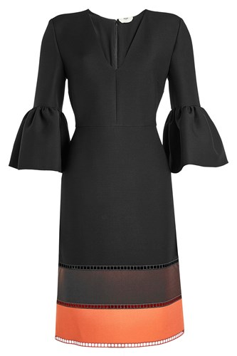 Fendi Wool And Silk Dress With Bell Sleeves Black aJ5asJPFK5