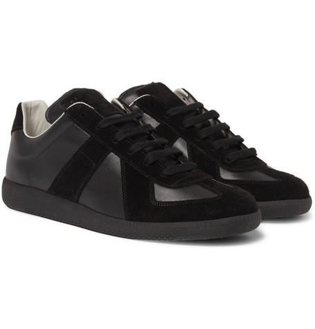 Maison Martin Margiela Replica Suede And Leather Sneakers Black QYkB3r