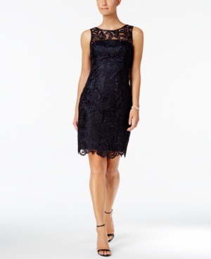 Adrianna Papell Lace Sheath Dress Midnight q7ILY