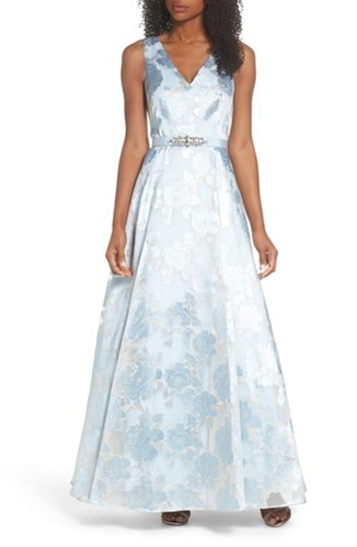 Eliza J Embellished Burnout Organza Ballgown Light Blue ciR0EY