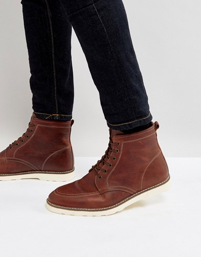 Asos Lace Up Boots In Brown Leather With White Sole Brown 7uvzL