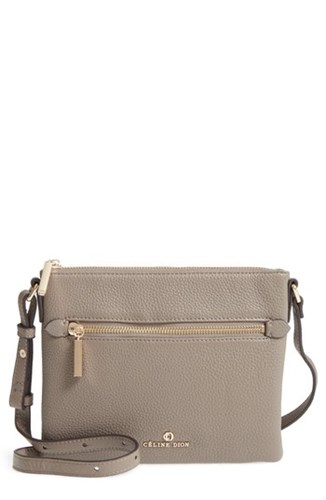 CELINE DION Adagio Leather Crossbody Bag Beige Taupe l4V4B1i