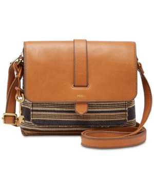 Fossil Kinley Stripe Small Crossbody Brown Gold 6i88H