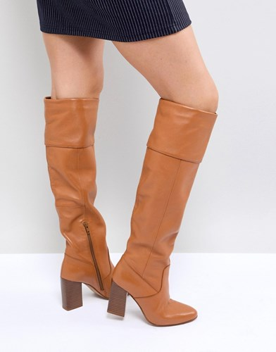 Asos Cerys Leather Knee Boots Tan Leather ujPkDo8