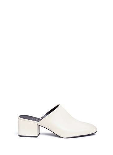 Phillip Lim 1 Toe 'Cube' Square White Mules 3 Leather 7FwAq5WnH