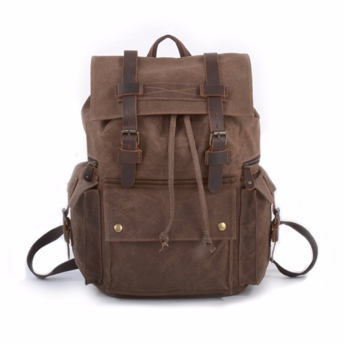 EAZO Vintage Style Waxed Canvas Backpack In Brown R3KXJMi