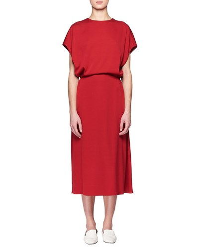 The Row Cyde Dolman Sleeve Blouson Top A Line Silk Dress Red UcCWw