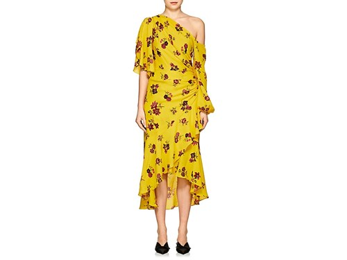 A Florence C Dress Silk L Floral Yellow 44qRxgUw