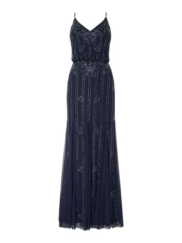 Lace and Beads Blouson Embellished Maxi Blue JDMse945
