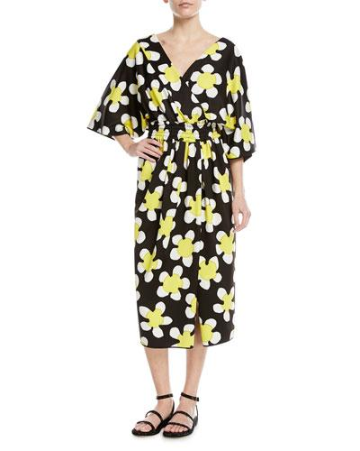 Marc Jacobs 3 4 Sleeve Wrap Front Daisy Dress Red Pattern gypPT