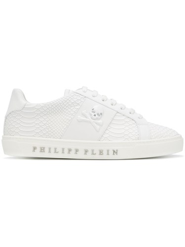 Philipp Plein Skull Patch Sneakers Leather Polyester Rubber White MlMYDeC