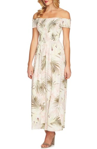 CeCe Soft Palm Maxi Dress Antique White CLnP78zk