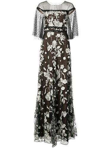 Marchesa Notte Short Sleeve Embroidered Gown Black Yim7Kbcnm2