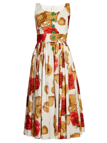 Dolce & Gabbana Biscotti Rose Cotton Midi Dress White Multi 3O6HF