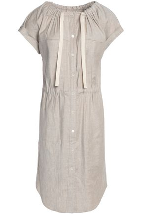 Theory Faded Linen Blend Twill Shirt Dress Ecru yKFpunY