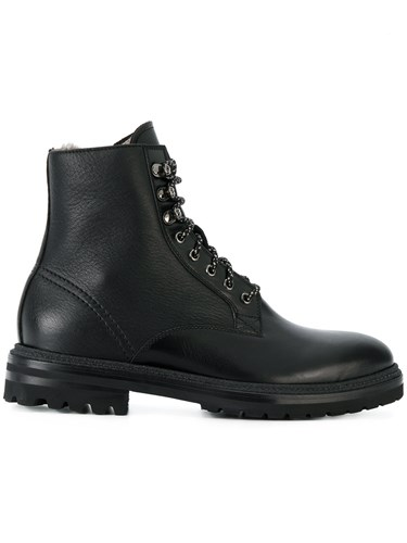 Fabi Lace Up Boots Calf Leather Sheep Skin Shearling Rubber Black ayq4f