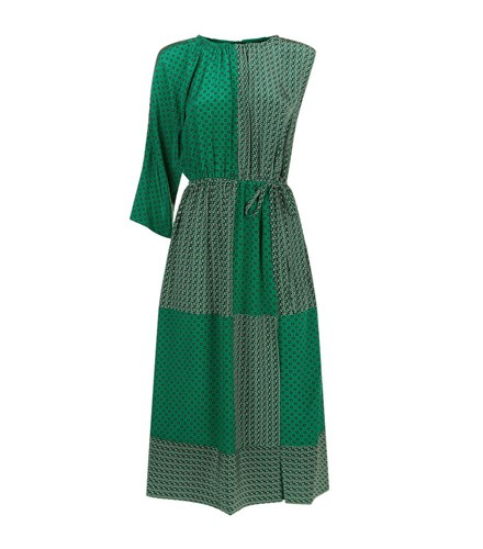 Green Asymmetric Duo Robert Print Silk Rodriguez Sleeve Dress P0xng7x