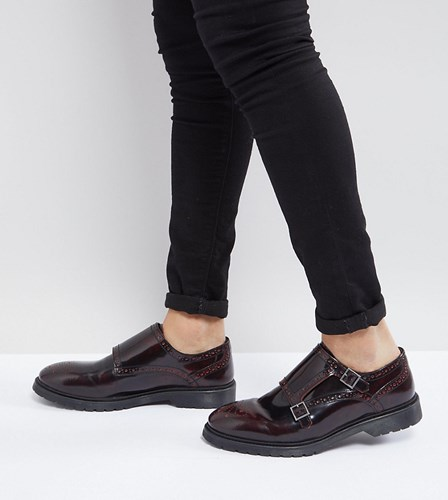 Asos Wide Fit Monk Shoes In Burgundy Leather Red z3ZRDMVj