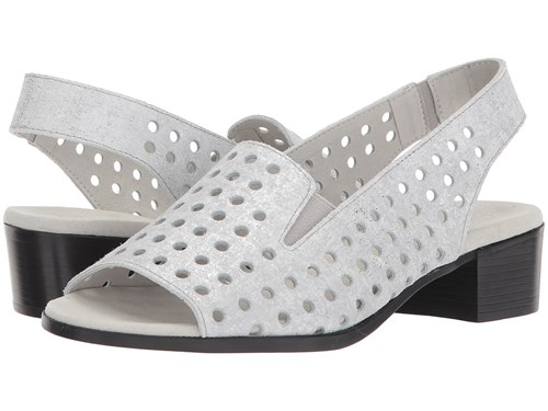 Munro American Mickee Silver Metallic Printed Leather Women's Sandals White xjWLYs