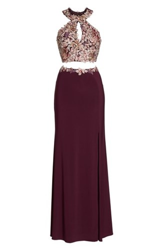Xscape Evenings 'S Embroidered Two Piece Gown Wine X1mXo
