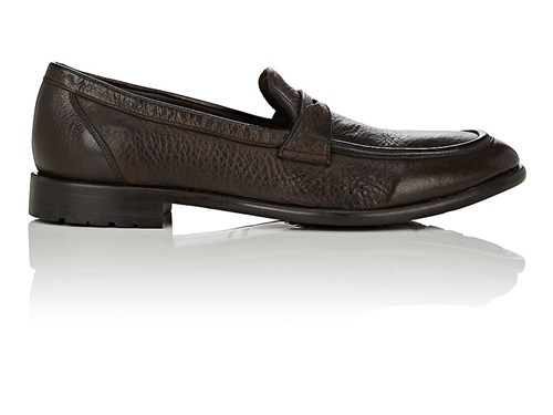 Barneys New York Men's Washed Leather Penny Loafers Dark Brown Brown Zn2vw