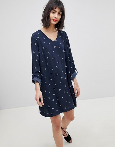 Vero Moda Ditsy Print Shift Dress Navy Print 4Hc7n