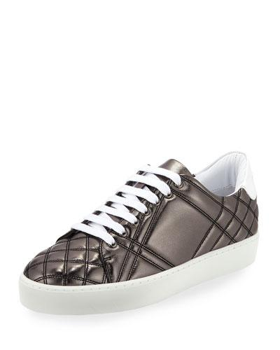 Leather Westford Sneaker Quilted Gray Low Metallic Dark Top Burberry gAqwHtH