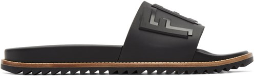 Fendi Black Rubber Slides Qhh1x