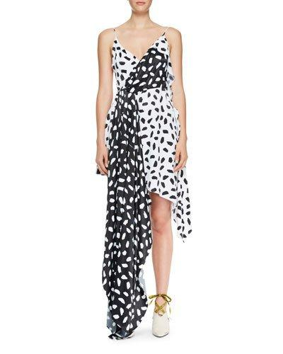 Off-White Draped Two Tone Asymmetric Dress Multi Pattern po1UlFpjoj