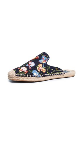 Tory Burch Max Embroidered Espadrille Slides Perfect Navy Painted Iris KmOTzBMf