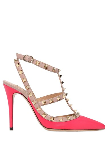 Valentino 100Mm Rockstud Leather Pumps Bright Pink cnTSD