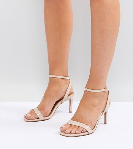 Asos Half Time Wide Fit Barely There Heeled Sandals Beige qBgACu4