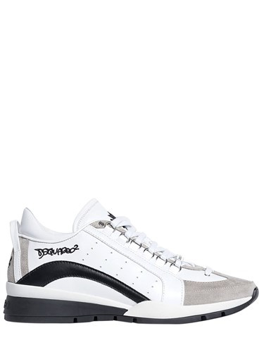 DSquared 551 Leather And Nubuck Sneakers White Black m0cDYyp1M