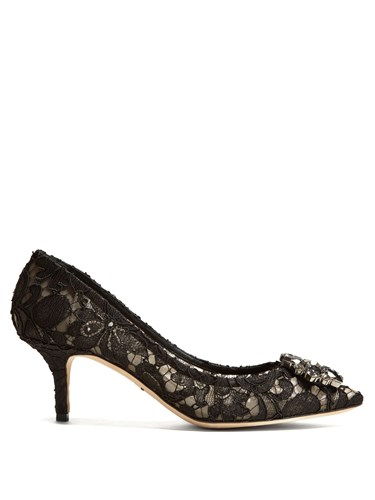 Dolce & Gabbana Belluci Crystal Embellished Lace Pumps Black d392UR