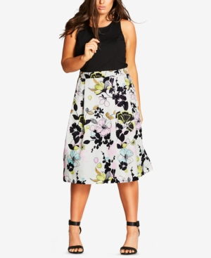 Chic Flare Dress Print Size Fit Floral Musk And Trendy City Plus Bwdx8zTTq
